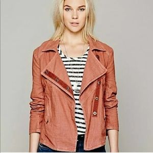Free People Linen Rust Moto Asymmetric Zip Jacket